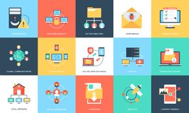 Flat Icons Set Of Internet Technology And Security. This is creatively designed flat icon set of internet security and technology. World is becoming a global Stock Photos