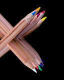 Creatively stacked color pencils Stock Image