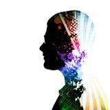 creatively tänka för personsilhouette Fotografering för Bildbyråer