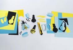 creatividad con los niños Clase principal en crear abejas del papel Imagen de archivo libre de regalías