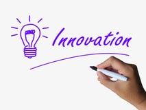 Creatividad de las ideas de la demostración de la innovación y de la bombilla Foto de archivo libre de regalías