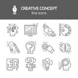 Creativie Concept Linear Monochrome Icons. Creative concept linear monochrome icons with inspiration brainchild puzzle searching of solutions success vector royalty free illustration