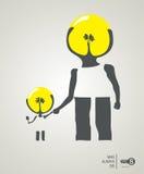 Creatività del papà e del figlio Fotografia Stock