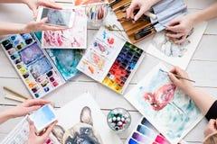Creatività di tiraggio di ispirazione dell'immagine della pittura di arte immagine stock