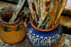 creativiteit Penseel olie stock fotografie