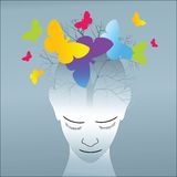 Creativity. Tree and butterflies emerging from human head - creativity concept vector illustration