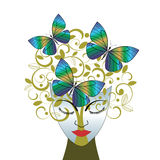 Creativity. Female face with tree and butterflies - environment / creativity concept Royalty Free Stock Photo