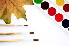 Creativity. Paints and brushes - tools for creativity Royalty Free Stock Photo
