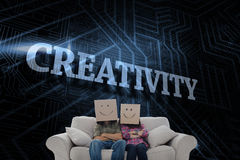 Creativity against futuristic black and blue background Royalty Free Stock Photos