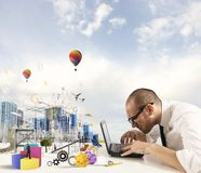 Creativity of an architect. Concept of creativity of an architect with building draft stock photo