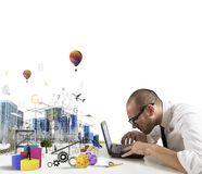 Creativity of an architect. Concept of creativity of an architect with building draft royalty free stock image