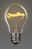 Creativity. Bulb with glowing creative word inside of it, creativity concept Stock Images