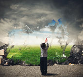 Creativity cleans. Child with creativity cleans the natural environment Royalty Free Stock Photo