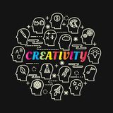 Creativity colorful gradient with line icons set. Vector editable stroke Stock Image