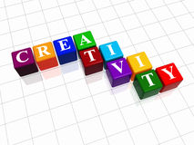 Creativity in colour 2. 3d colour cubes with text - creativity, word Stock Photos