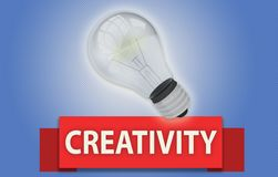 CREATIVITY concept with banner and light bulb. Colorful CREATIVITY concept with red text banner and 3d rendered domestic light bulb, isolated with a glow around Stock Photography