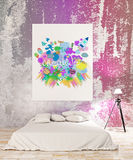 Creativity concept. Bright bedroom interior with colorful sketch on poster. Creativity concept. 3D Rendering Stock Photography