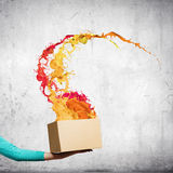Creativity concept. Close up of female hand holding carton box with colorful splashes Stock Photos