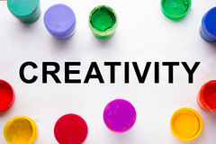 Creativity concept.colorful sign and paint cans. Not isolated royalty free stock photo