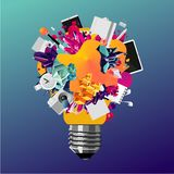 Creativity concept 3d bulb. Art and education vector banner. Abstract vector background for business. vector illustration
