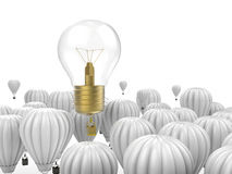 Creativity concept. With 3d rendering shiny light bulb above hot air balloons Stock Image