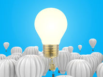 Creativity concept. With 3d rendering shiny light bulb above hot air balloons Stock Photo