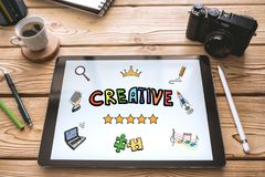 Creativity Concept on Digital Tablet stock photo