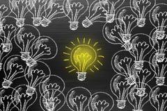 Creativity concept for good ideas on blackboard inspiration conc. Ept Stock Image