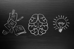 Creativity concept for good ideas on blackboard inspiration conc. Ept Stock Images