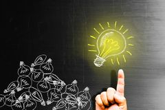 Creativity concept for good ideas on blackboard inspiration conc. Ept Royalty Free Stock Images