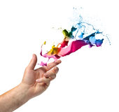 Creativity concept hand throwing paint. Creativity concept, hand throwing color paint splash isolated on white stock image
