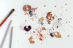 Creativity Concept Image of Brush color Pencils and Wood Chips Stock Image