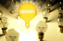 Creativity concept with light bulbs Stock Images
