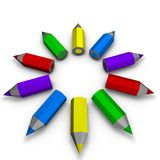 Creativity concept with simple 3d pencils Royalty Free Stock Photo