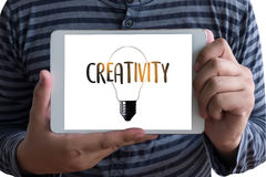 CREATIVITY Creative and Design Thinking Innovation Process and i. Nspiration, idea and imagination , Design Studio Royalty Free Stock Photos