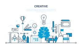 Creativity, creative thinking, planning, creation and implementation of ideas, imagination. Creativity and creative thinking, planning, creation and Royalty Free Stock Images
