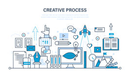 Creativity, creative thinking, planning,  process, implementation of ideas, imagination Royalty Free Stock Images