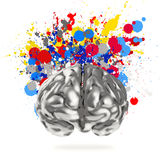 Creativity 3d metal human brain. With splash colors background as concept Royalty Free Stock Images