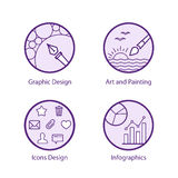Creativity and Design Icons Royalty Free Stock Images