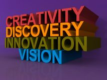 Creativity, discovery, innovation and vision. Text 'creativity, discovery, innovation and vision' illustrated in uppercase 3D letters in red, yellow, green and Royalty Free Stock Photos