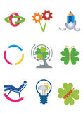 Creativity_ecology_icons. Icons of creativity, design and ecology, Isolated on white background. Vector illustration available for download Royalty Free Stock Images
