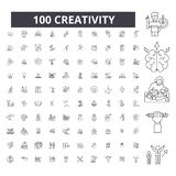 Creativity editable line icons, 100 vector set, collection. Creativity black outline illustrations, signs, symbols vector illustration