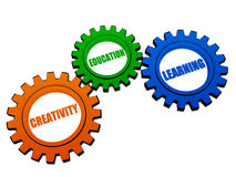 Creativity, education, learning  in color gears Stock Images