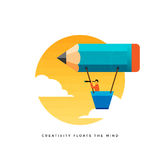 Creativity Floats the Mind. Vector conceptual illustration of man looking through a telescope riding a pencil-shaped air balloon Royalty Free Stock Images