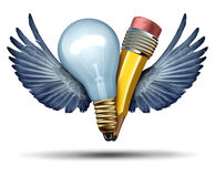 Creativity Freedom. Concept as a lightbulb and pencil in a joint effort flying up with bird wings as a metaphor and strategic symbol for creative partnership Stock Photography
