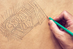 Creativity in graphic design, illustration and writing Royalty Free Stock Images