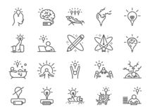 Creativity icon set. Included icons as Inspiration, idea, brain, innovation, imagination and more. Vector and illustration: Creativity icon set. Included icons royalty free illustration