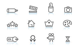 Creativity icons. Simple creativity icons with reflection Royalty Free Stock Images