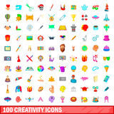 100 creativity icons set, cartoon style Stock Photos