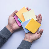 Creativity idea concept notepaper on male hand. Royalty Free Stock Images